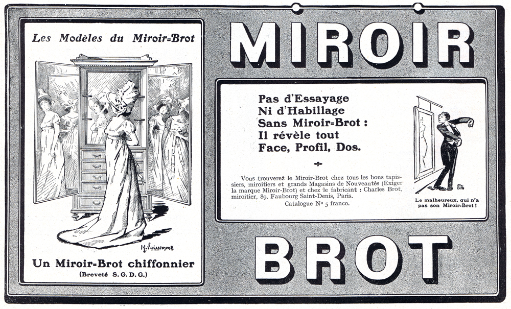 Mirrors old french adverts for Miroir brot paris